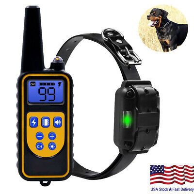 Waterproof Pet Dog  Training Collar Electric Shock LCD Rechargeable Remote Train