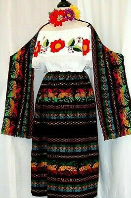 Peasant Mexican Black Maxi Dress 3 pc Floral Embroidery Blouse/Skirt/Shawl 2X
