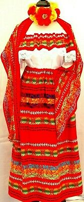 Peasant Mexican Red Maxi Dress 3pc tricolor Embroidery Blouse/Skirt/Shawl 2X Vtg