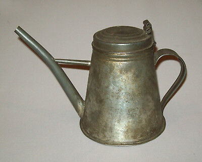 Rare Old Antique Vtg Early 19th C 1840s Shaker Tin Oil Lamp Filler Great Form