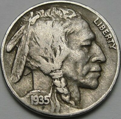 1935 5C Buffalo Nickel, Indian Head Nickel, Five Cents, #13061