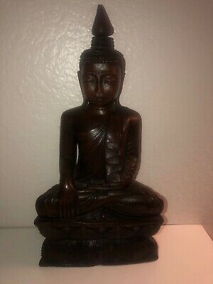 Large Hand Carved Antique Hard Wood Buddha Statue - 14 Inches Tall