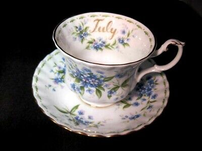 Vintage Royal Albert Flower of the Month Forget Me Not July Tea Cup and Saucer