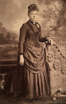 1880's Pretty School Girl Young Lady & Dog Cabinet Card Photo Fort Scott Kansas