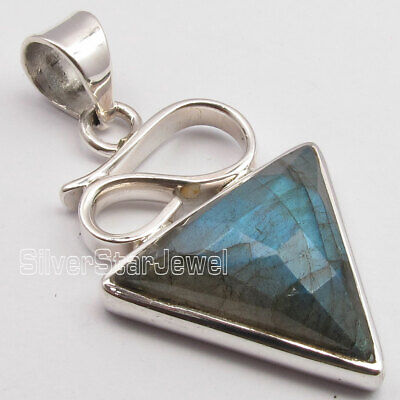 Solid Sterling Silver Labradorite 12.0 TCW Antique Style Pendant 1.5""