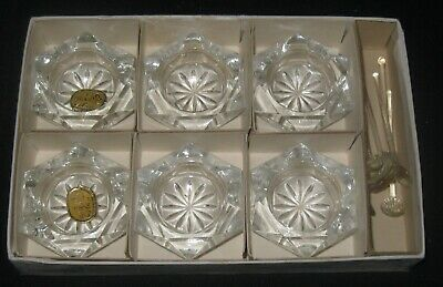 Boxed Set of 6 Bohemia Czechoslovakia Crystal Open Salt Cellars/Spoons Excellent