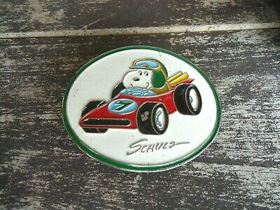 Belt Buckle VTG Snoopy Racing #7 1958 Peanuts Shultz approx. 2.75 x 2.25 in (F)