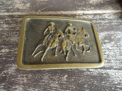 Belt Buckle Solid Brass BTS Bull Dogging Rodeo Cowboy VTG approx. 3 x 2 in (F)