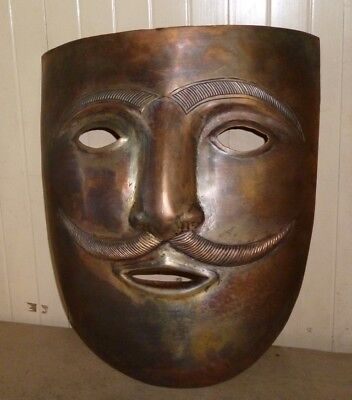 Man Face Mask Copper Plated Hand Made Detailed Work Wall Hanging