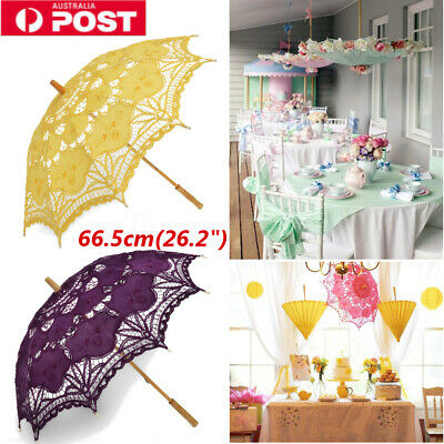 Vintage Handmade Sun Umbrella Cotton Lace Hollow Parasol Umbrella Wedding Party
