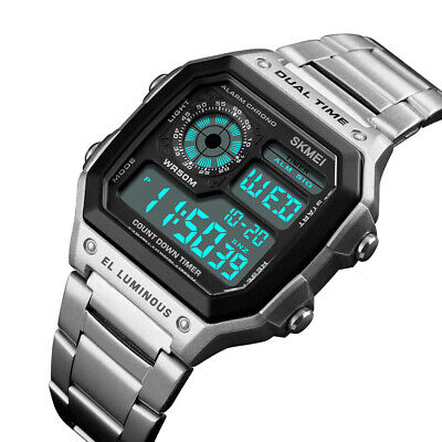 SKMEI Mens Waterproof Casual Stainless Steel LED Digital Business Wrist Watch US