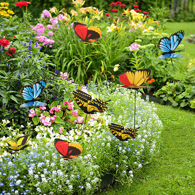 50PCS Butterfly & Dragonfly Stakes Outdoor Yard Garden Flower Pot Decoration