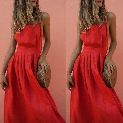 Women Backless Bow Belt Button Pleated Red Dress Party Cocktail Clubwear Dress