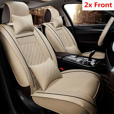 2Pcs Beige Luxury PU Leather Car Front Seat Covers Cushion with Pillows Size M