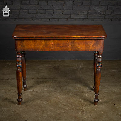 19th C Cuban Mahogany Swivel Top Fold Out Table with Turned Legs