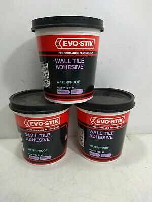 3 x Evo-Stik Waterproof Wall Tile Adhesive Ready Mixed 1L (Covers 1.1m² Each)