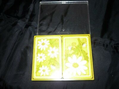 Vintage 2 Decks of Bridge Playing Daisy Delight Plastic Coated Cards with Case