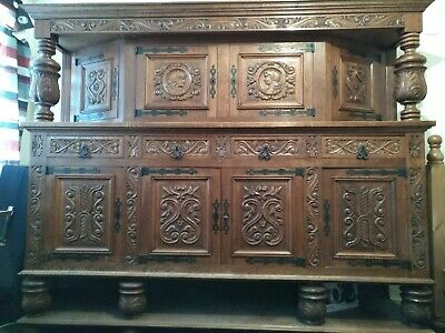 Large Antique French Louis style Carved Oak Court Cabinet Credenza Sideboard