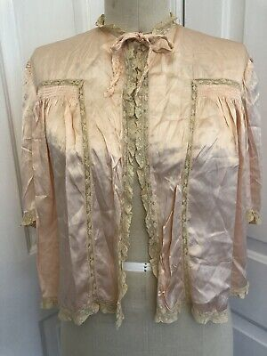 1940 VINTAGE BED JACKET PEACH SATIN Lingerie Satin Tulure DuPont Rayon 36 Lace