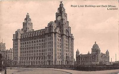 uk19574 royal liver buildings and dock offices liverpool real photo uk