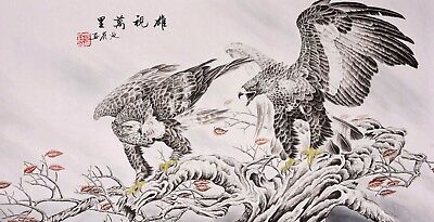 100% HANDPAINTED ORIGINAL FINE ART CHINESE WATERCOLOR PAINTING-Eagle Birds lover