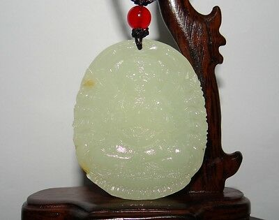 "1.8"" China Certified Nature Afghan White Jade Thousand-hand Kwan-yin Pendants"
