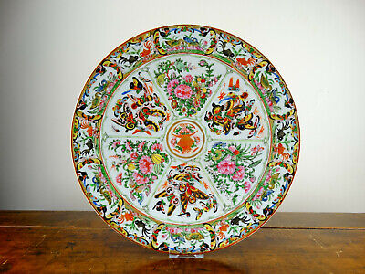 Antique Chinese Porcelain Charger Plate Canton Famille Rose Butterfly 37cm