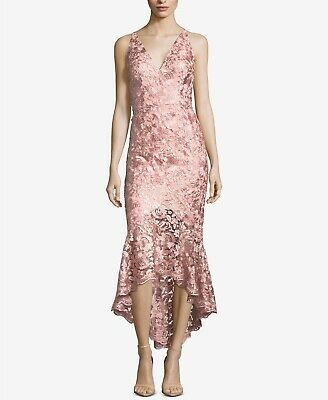 58c719ef New $415 Xscape Womens Pink Floral Lace V-Neck High-Low Midi Formal Dress