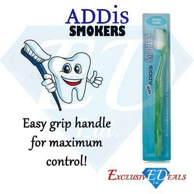 Addis Smokers Extra Hard Toothbrush Effective Stain Remover Easy Grip Assorted