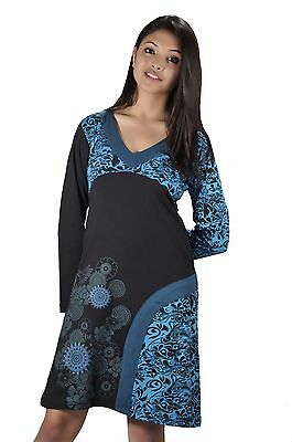 Women's Long Sleeved Dress With V-Neck Design And Embroidery