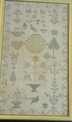 Stunning Antique 19Th Century Sampler In Gilt Frame Tt952