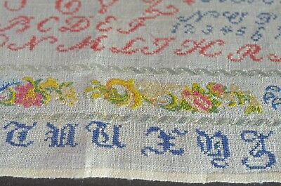Small Antique Sampler With Exquisite Stitching Tt976