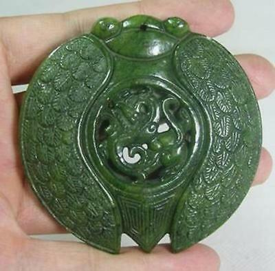 Chinese Old Handwork Green Jade Carved Cicada Pendant