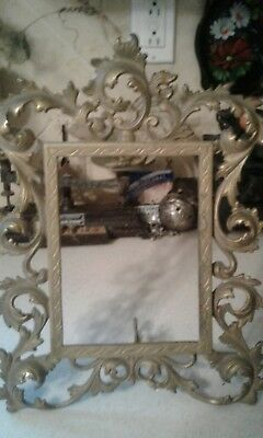 Ornate Vtg BRASS PICTURE FRAME w/ Easel Heavy Victorian Cast Metal