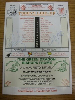 27/03/1993 Autographed Programme: Hereford United v Bury - signed throughout by