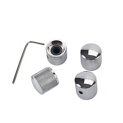 4pcs Metal Dome Tone Tunning Knob with 1pcs Lock for Electric Guitar Bass Chrome