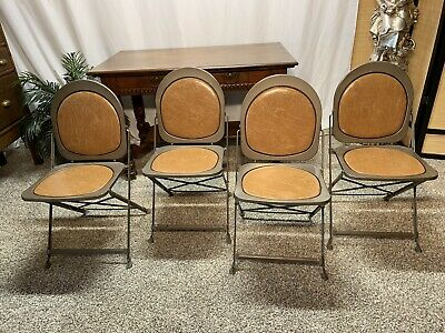 VTG  Industrial Metal Folding Chairs Hostess 1940's Brewer Titchener Small space