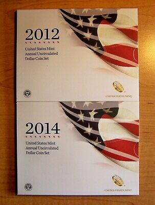 2012 &  2014 United States Mint Annual Uncirculated Dollar Cion Set Silver