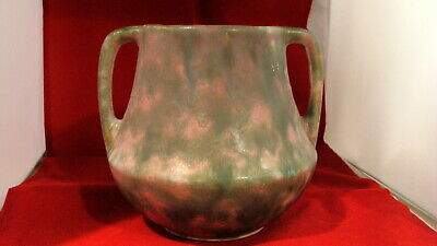 Burley Winter Pottery From Ohio, Double Handled Vase Green And Mauve