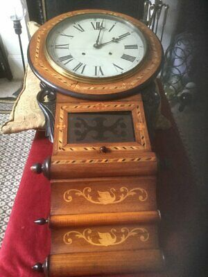 19th CENTURY ANGLO AMERICAN DOUBLE SCROLL  DROP DIAL WALL CLOCK