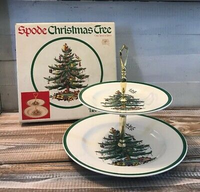 New Spode Christmas Tree Double Tier Tray Serving Dish Green Trim England W/ Box