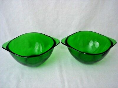 VERECO FRANCE Emerald Green Glass Bowl One Pair 16 oz / 2 cups each Vintage VGC
