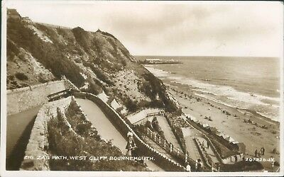 Bournemouth; zig zag path west cliff; 1939; real photo valentine's
