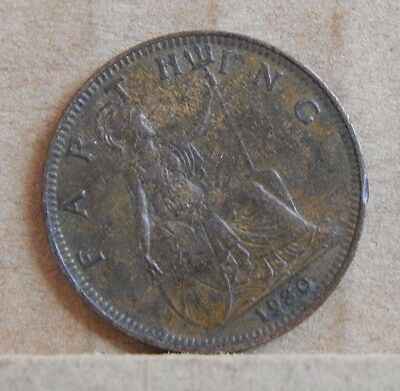 1930 Farthing King George V 1/4 D English Copper Coin