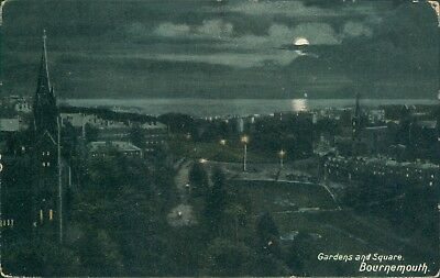 Bournemouth; gardens and square; 1906; Milton moonlight series