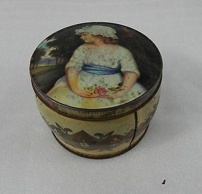 Vintage Thornes Premier Toffee tin young girl on lid 10cm diameter.