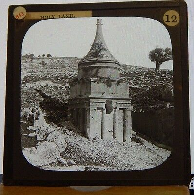 Antique Glass Slide Ancient Mausoleum  The Holy land Magic Lantern