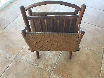 RARE Antique Old Hickory Adirondack Magazine Rack, rustic, camp, cabin furniture