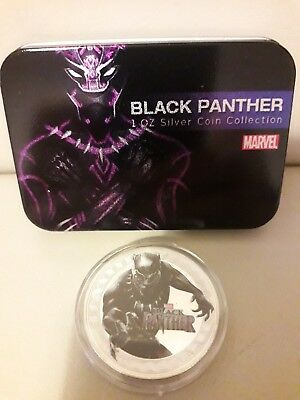 Marvel Avengers 'Black Panther' Collectors Coin 1oz Silver Plated With Tin Gift