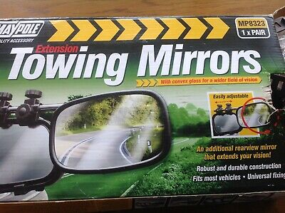 Pair Of Maypole 8323 Universal Convex Glass Deluxe Car Caravan Towing Mirrors